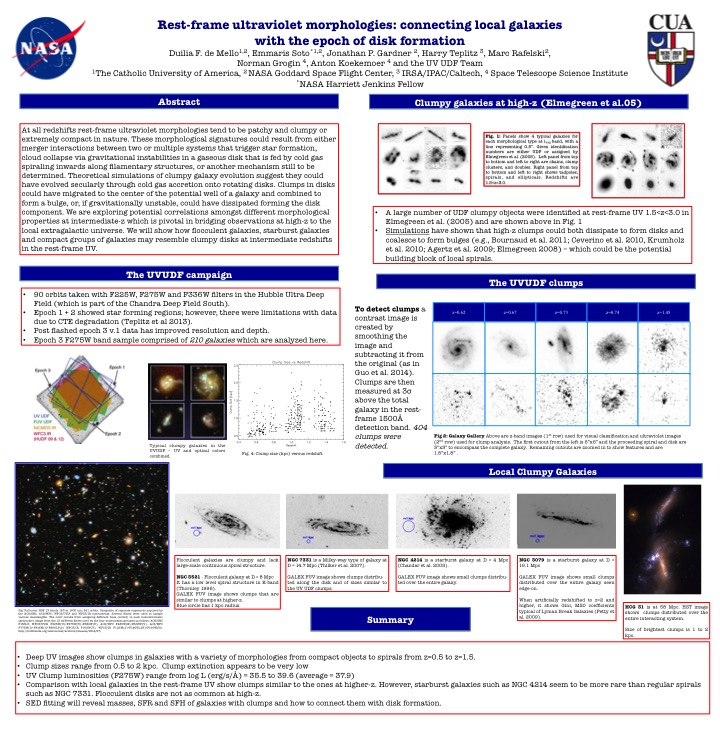 Sample Poster 2 titled Rest-frame ultraviolet morphologies: connecting local galaxies with the epoch of disk formation